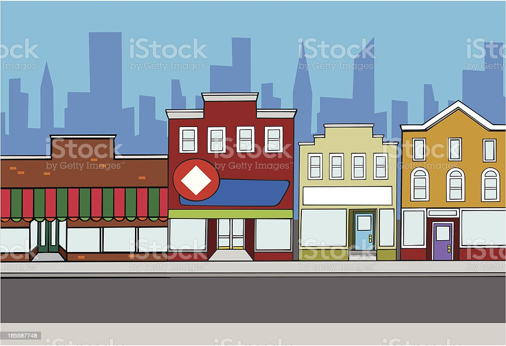 Retail Store Fronts in City Background vector art illustration