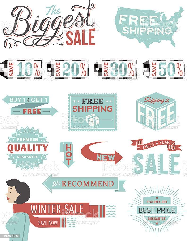 Retail Typography Badges vector art illustration