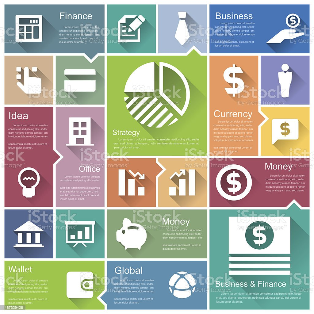 Retina business and finance  icon set royalty-free stock vector art