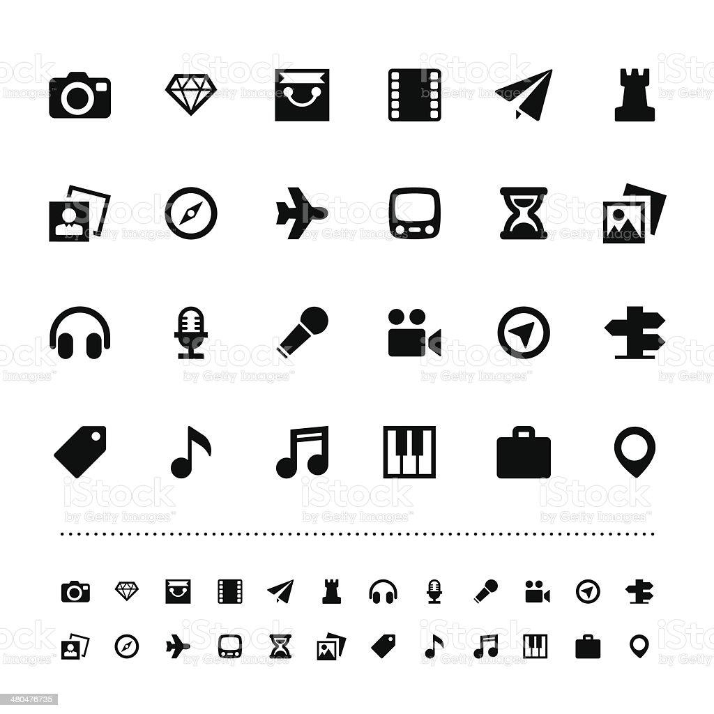 Retina travel and entertainment icon set vector art illustration