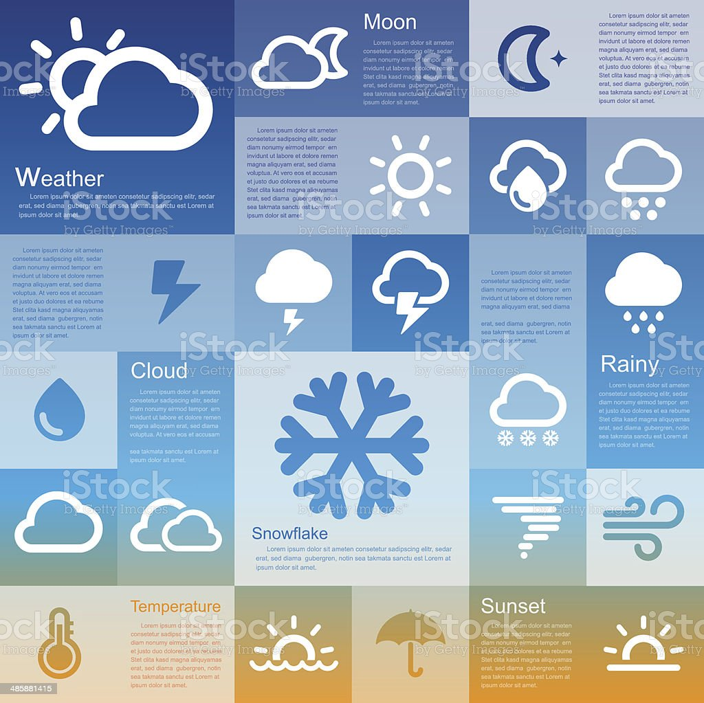 Retina weather icon set vector art illustration