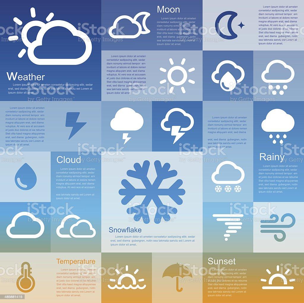 Retina weather icon set vector art illustration