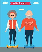 Retired couple. Flat vector cartoon character design. Family.