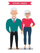 Retired couple in creative flat vector cartoon character design.