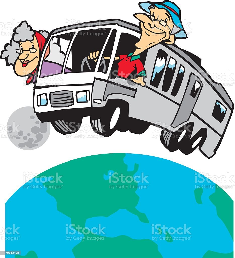 Retired Couple Travelling vector art illustration