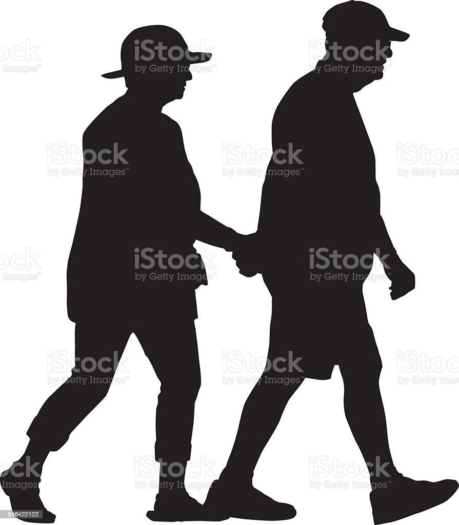 Retired Couple Walking Holding Hands vector art illustration