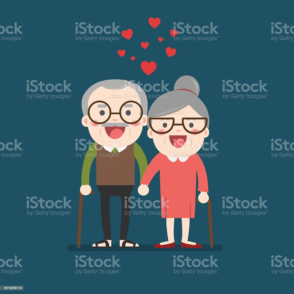 Retired elderly senior age couple. vector art illustration