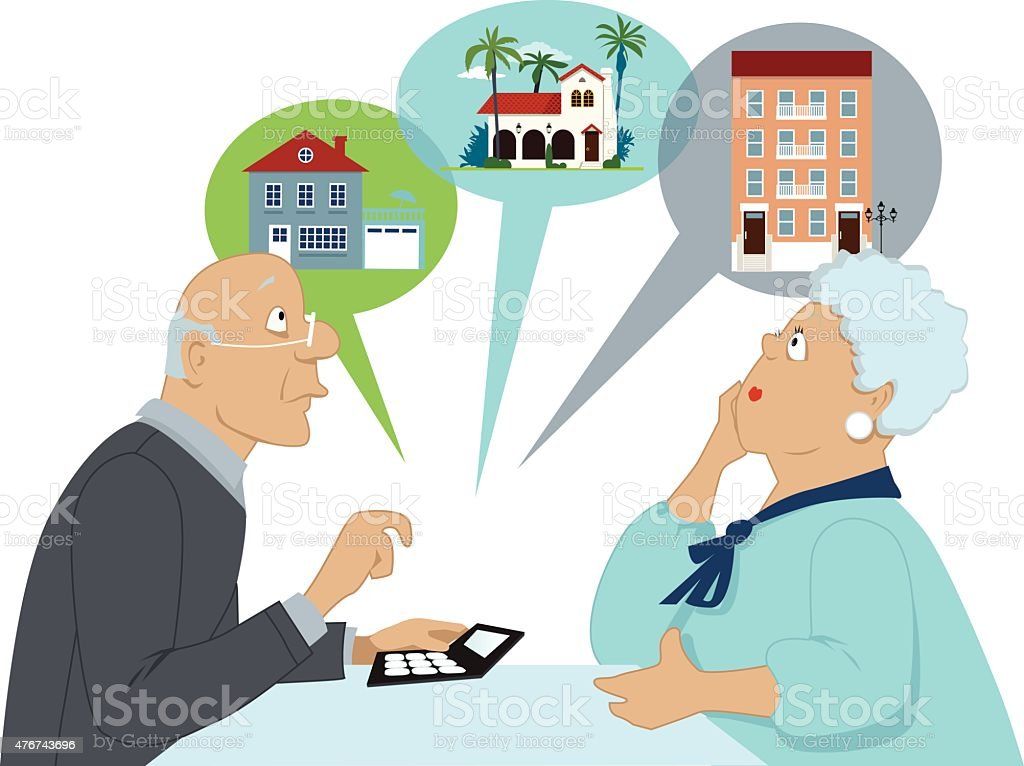 Retirement and downsizing vector art illustration
