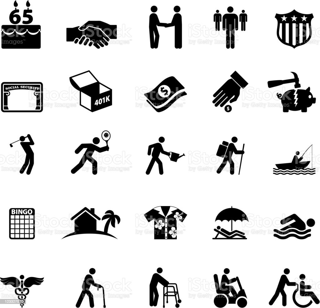 Retirement options in America black and white icon set vector art illustration