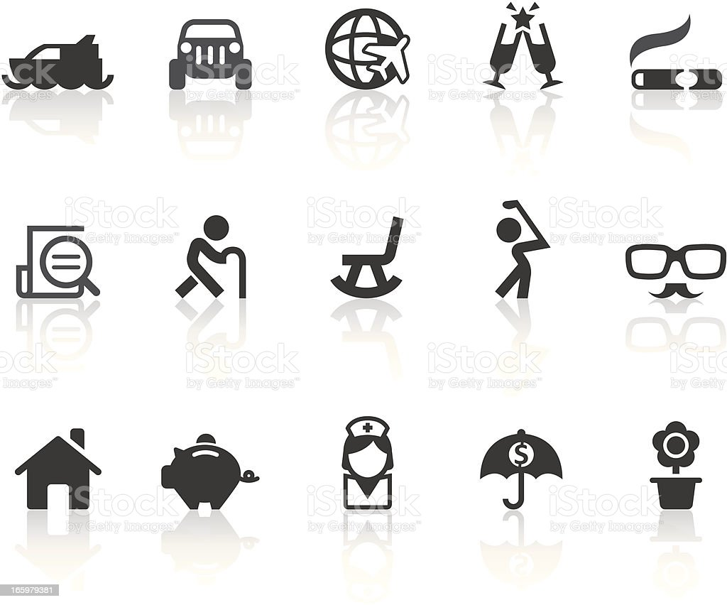 Retirement Plans Icons | Simple Black Series vector art illustration