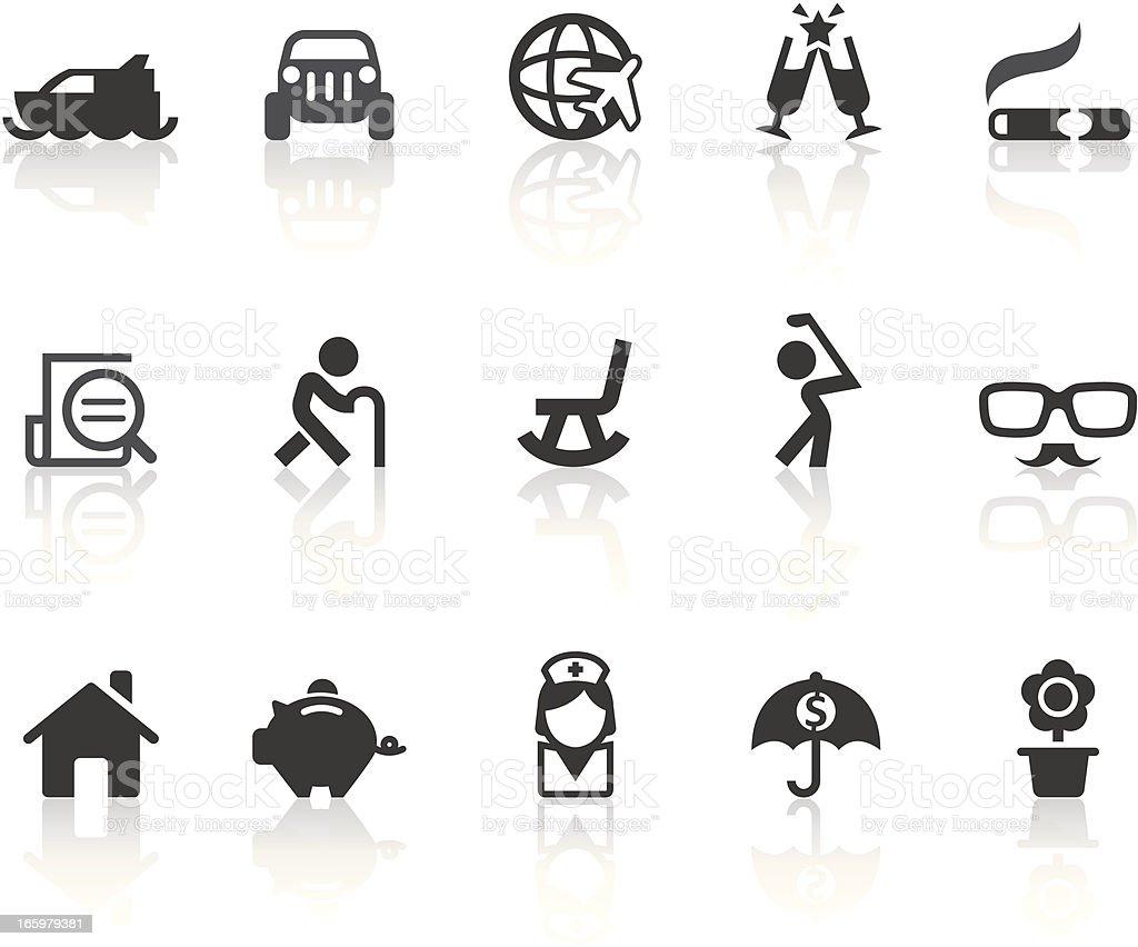 Retirement Plans Icons   Simple Black Series vector art illustration