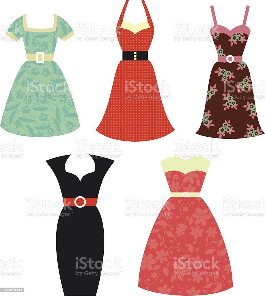 Retro 1950s Dresses vector art illustration