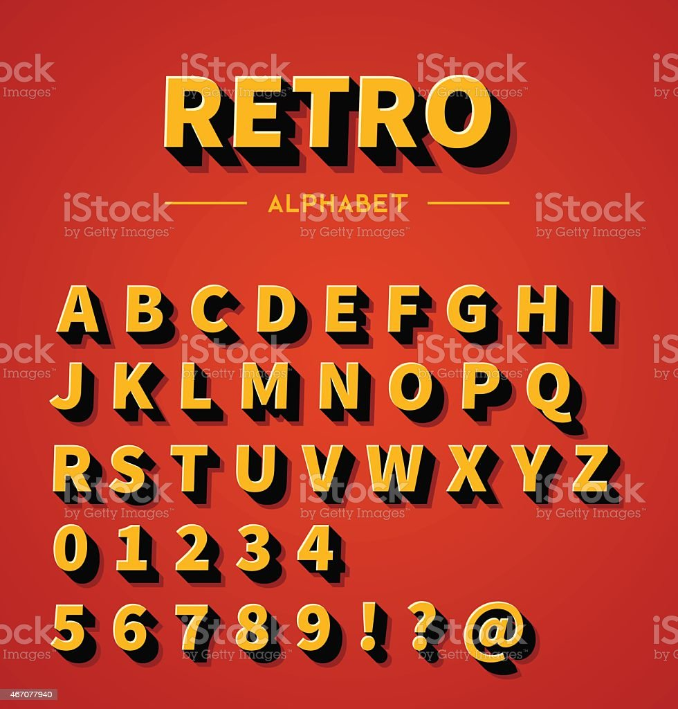 Retro 3d alphabet with shadow vector art illustration