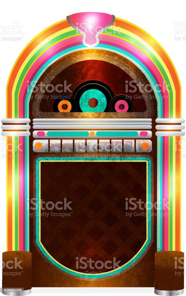 Retro 50s jukebox vector art illustration