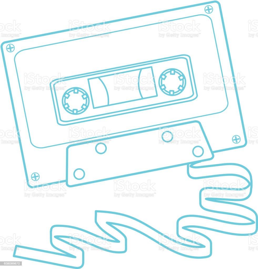 Retro 80s cassette tape vector art illustration