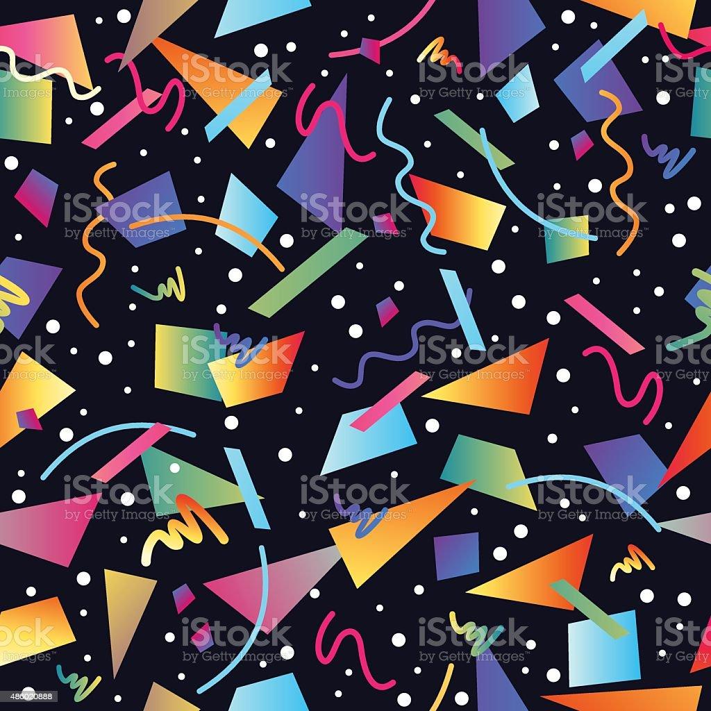 Retro 80s seamless pattern background vector art illustration