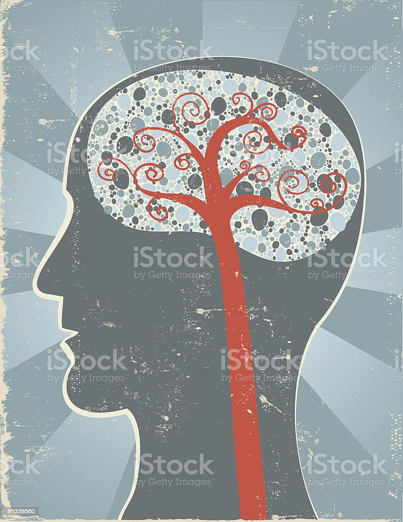Retro abstract side view of the brain royalty-free stock vector art