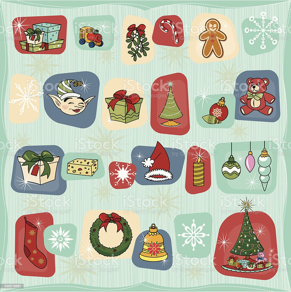 Retro Advent Christmas Calendar vector art illustration
