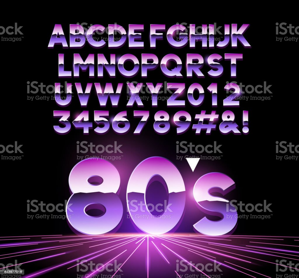 Retro Airbrushed 80s Letters vector art illustration