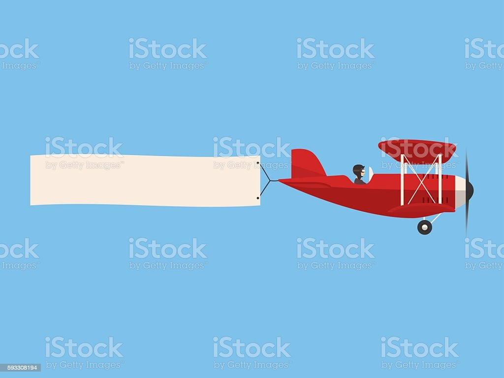 Retro airplane in the sky with poster, flat design vector art illustration