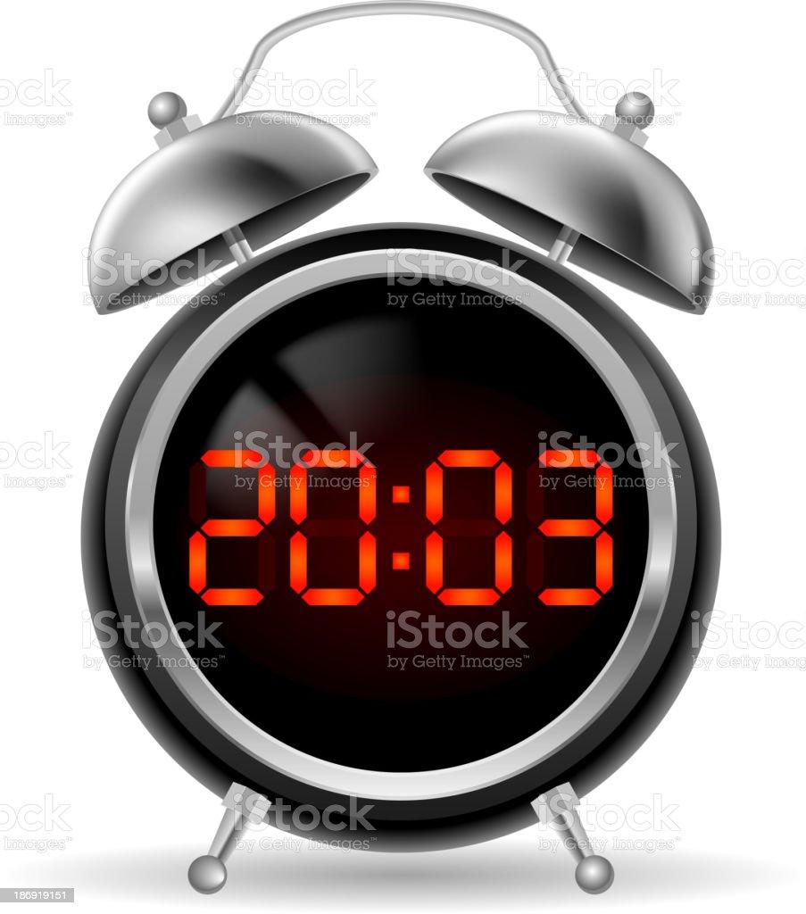 Retro alarm clock with digital face. royalty-free stock vector art