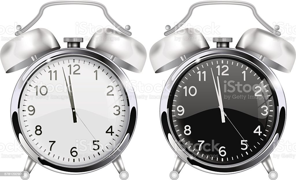 Retro alarm-clock. Black and white vector art illustration