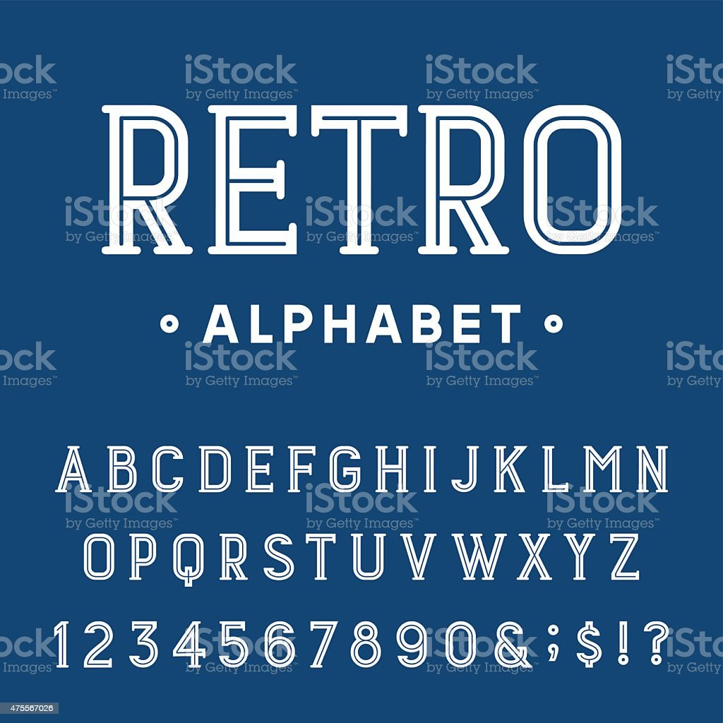 Retro Alphabet Vector Font. vector art illustration