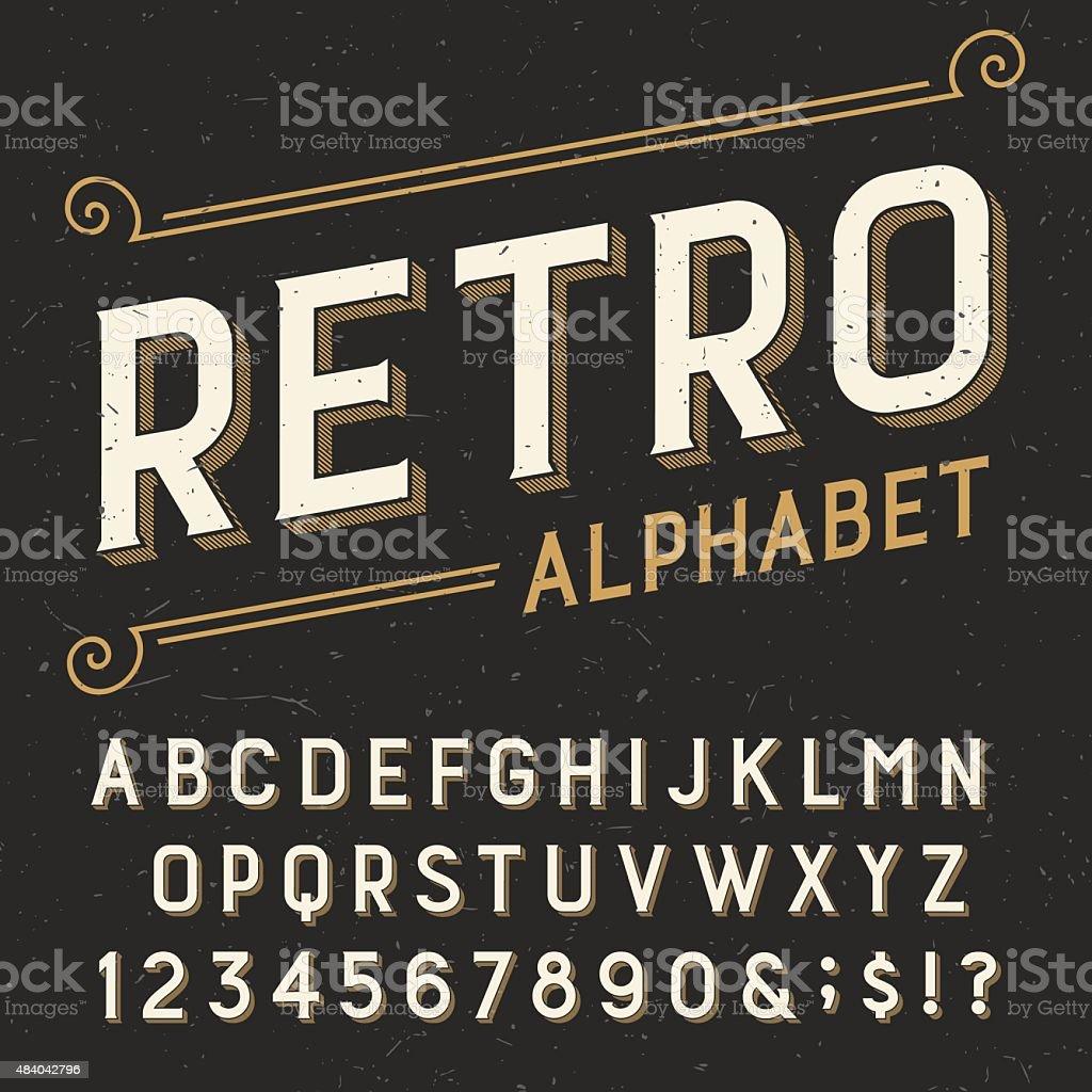 Retro alphabet vector font. vector art illustration
