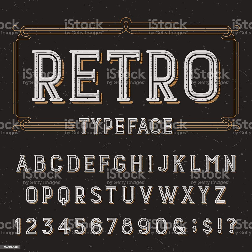 Retro alphabet vector font with distressed overlay texture. vector art illustration