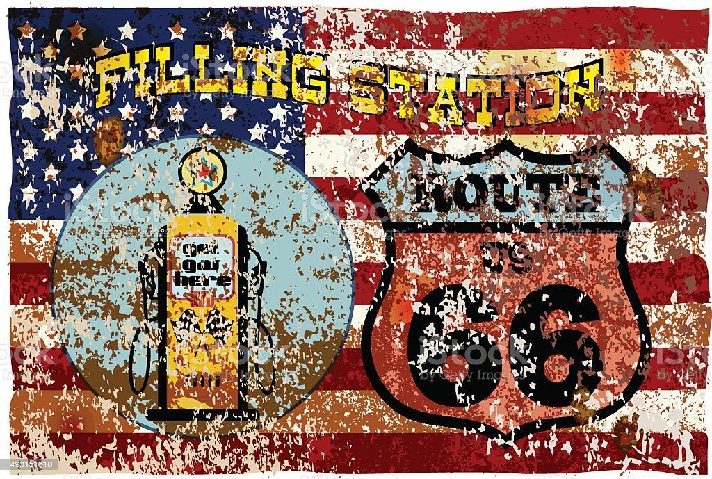 retro american gas station,route 66 vector art illustration