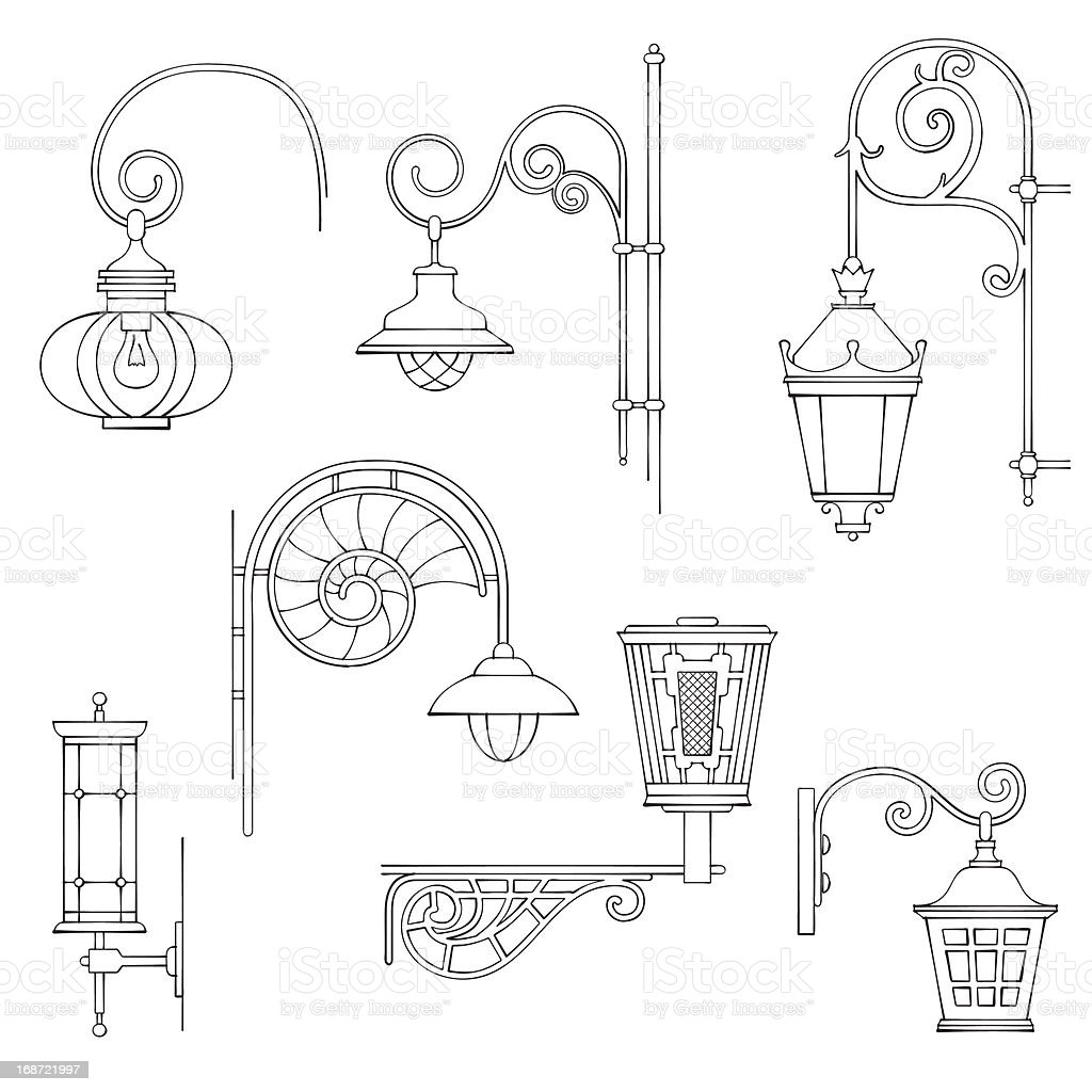 Retrô moderno e luminárias vetor e ilustração royalty-free royalty-free