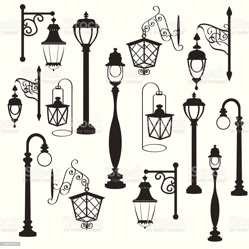 retro and modern street lanterns vector art illustration