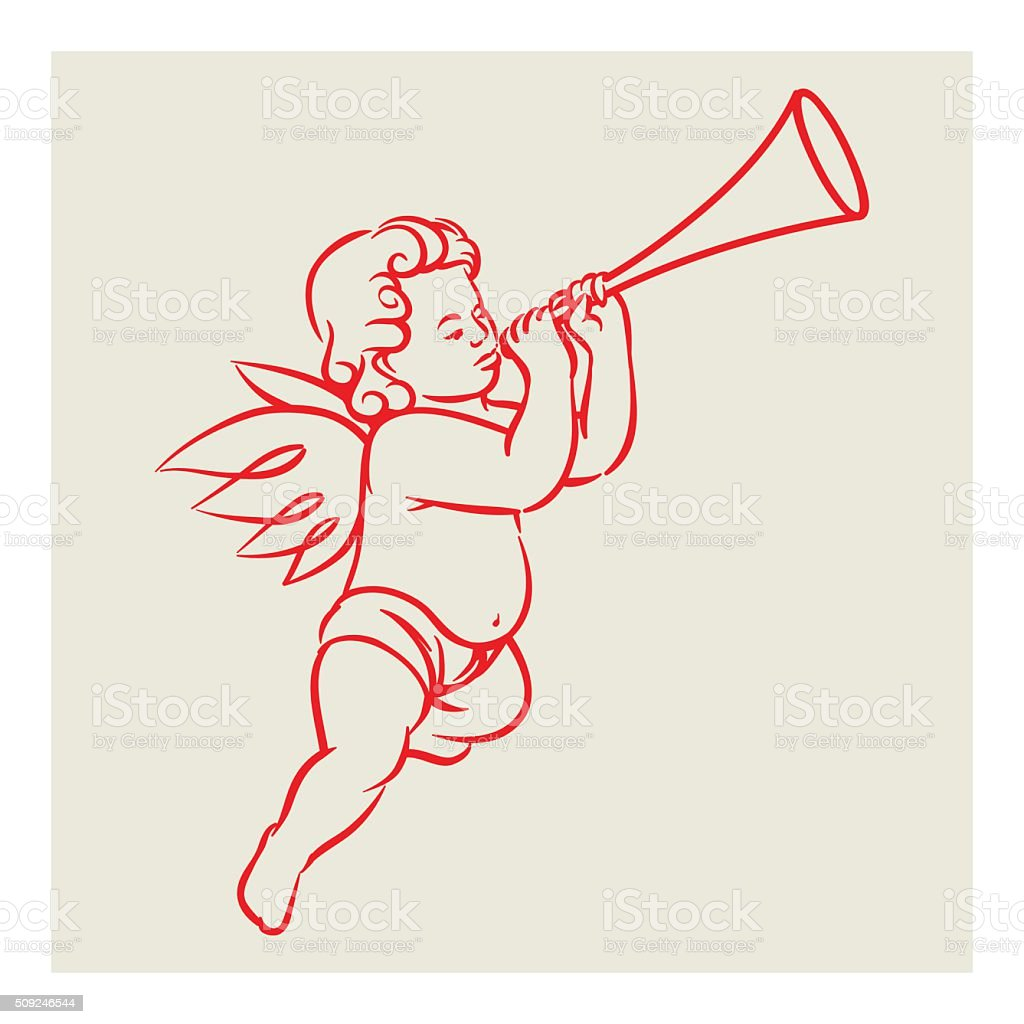 Retro Angel vector blowing trumpet vector art illustration