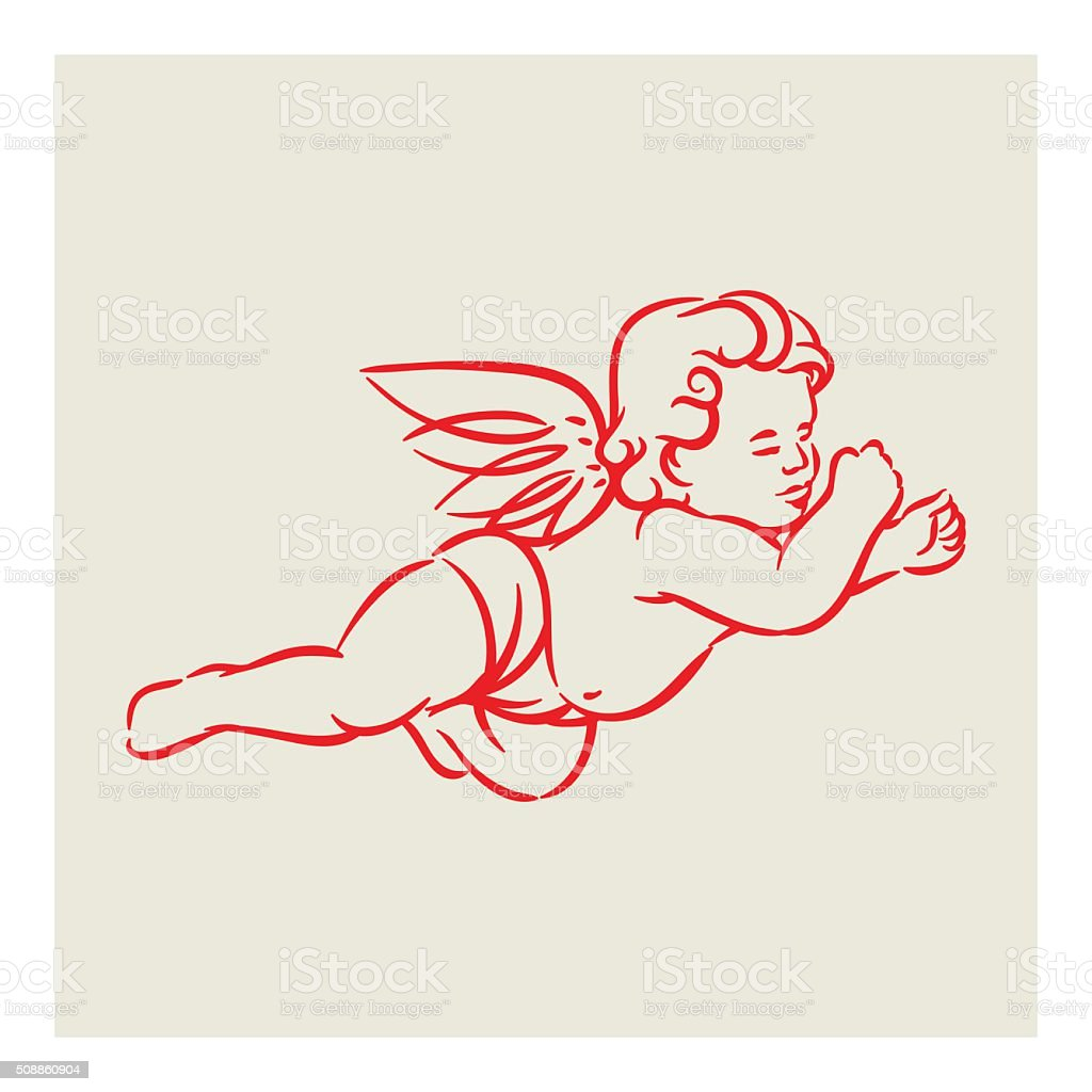 Retro Angel vector vector art illustration