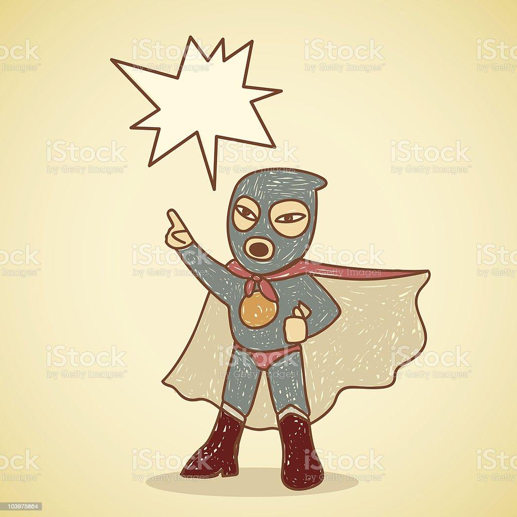 Retro angry ninja superhero making an announcement royalty-free stock vector art