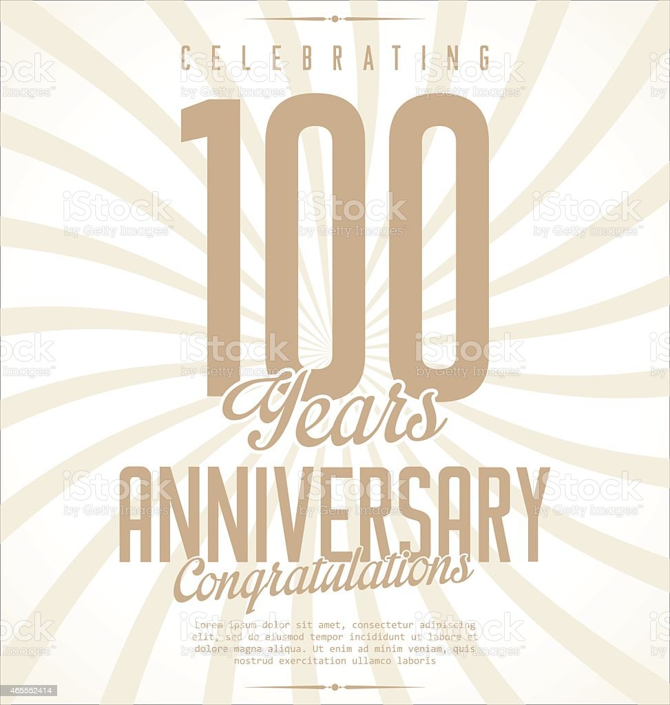 Retro anniversary background with large numeral 100 vector art illustration