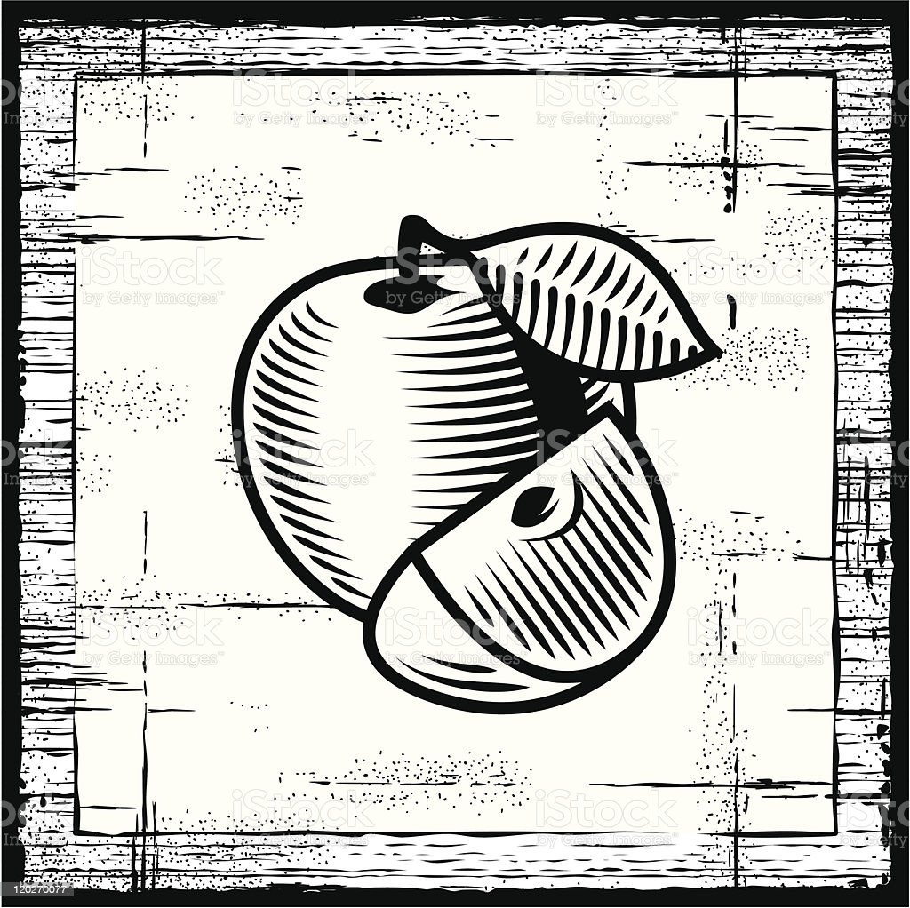 Retro apple black and white royalty-free stock vector art