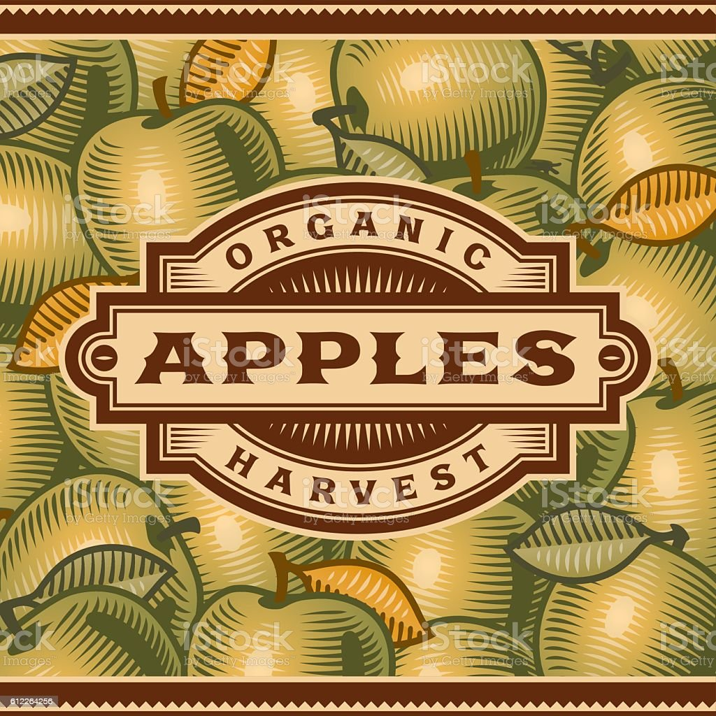 Retro Apple Harvest Label vector art illustration
