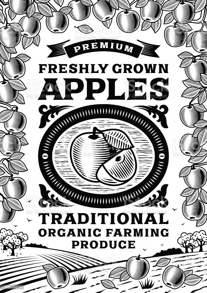 Retro apples poster black and white vector art illustration
