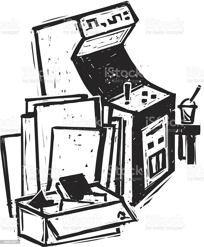 Retro Arcade Cabinet vector art illustration