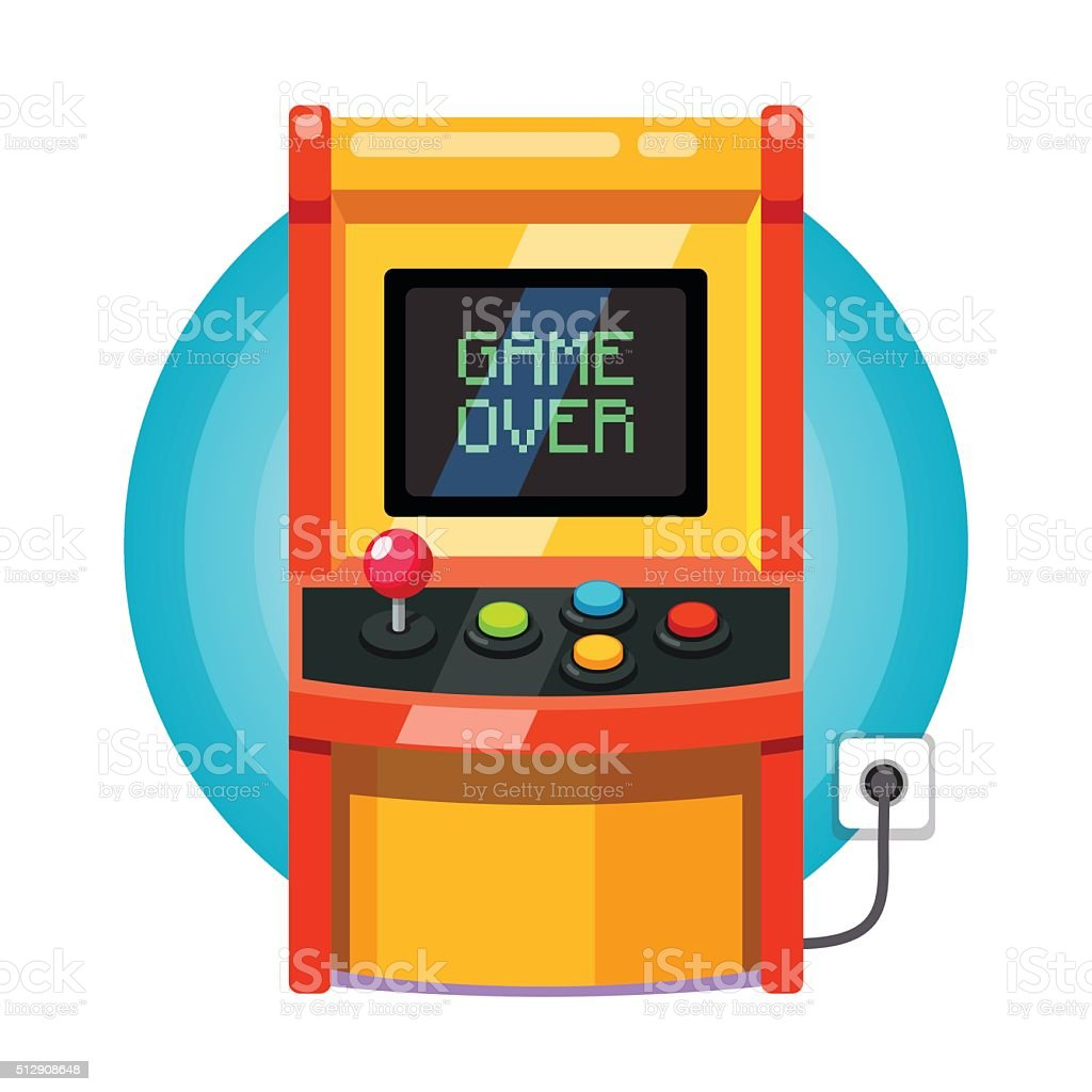 Retro arcade machine plugged in vector art illustration