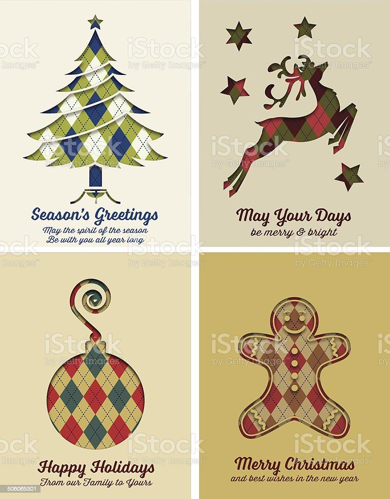 Retro Argyle Christmas Card Set vector art illustration