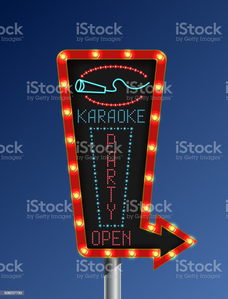 Retro arrow light banner karaoke blue background vector art illustration