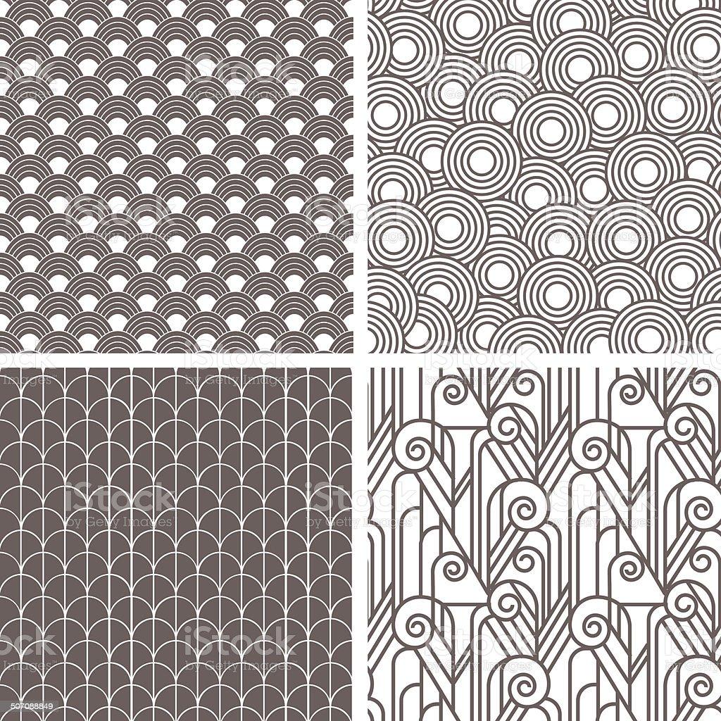 Retro art deco patterns vector art illustration