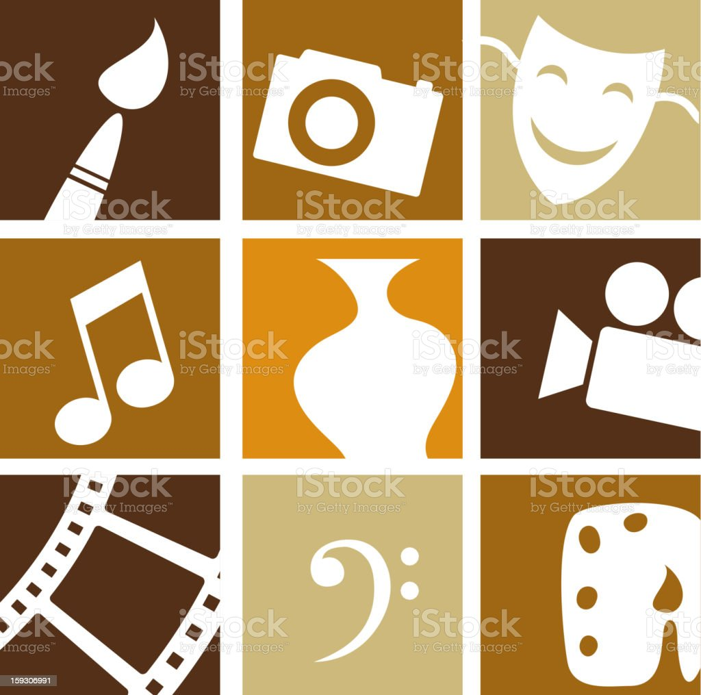 Retro arts icons vector art illustration