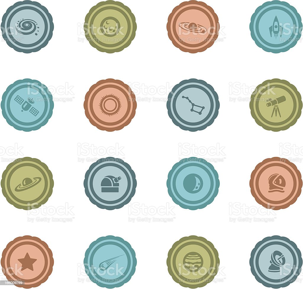 Retro Astronomy Badges vector art illustration