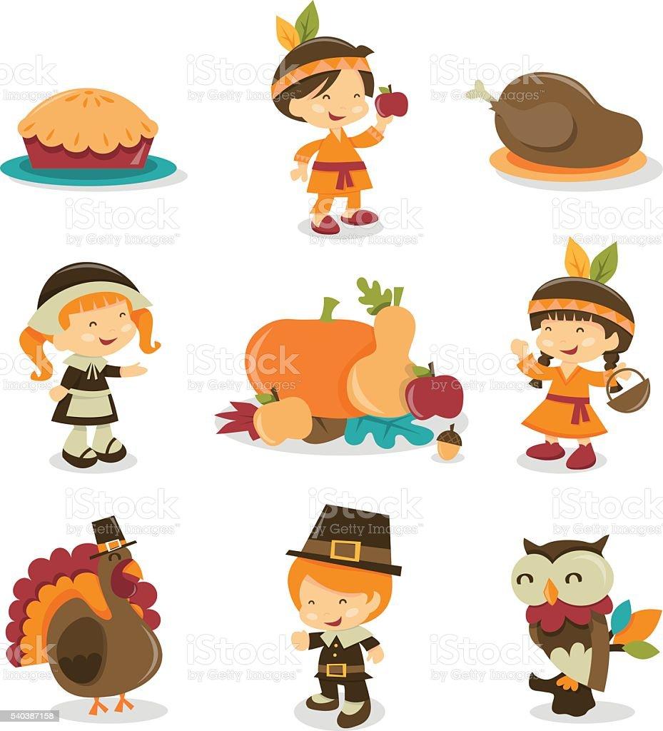 Retro Autumn Festival Thanksgiving Icons vector art illustration