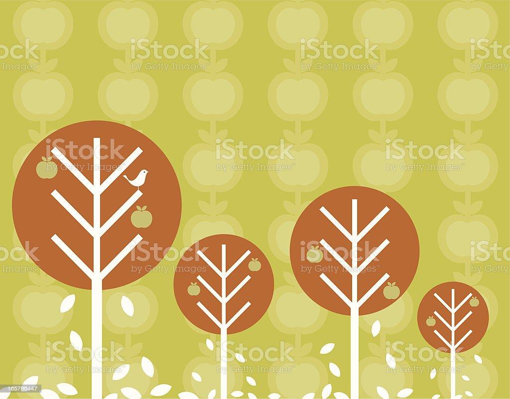 Retro Autumn trees Background vector art illustration