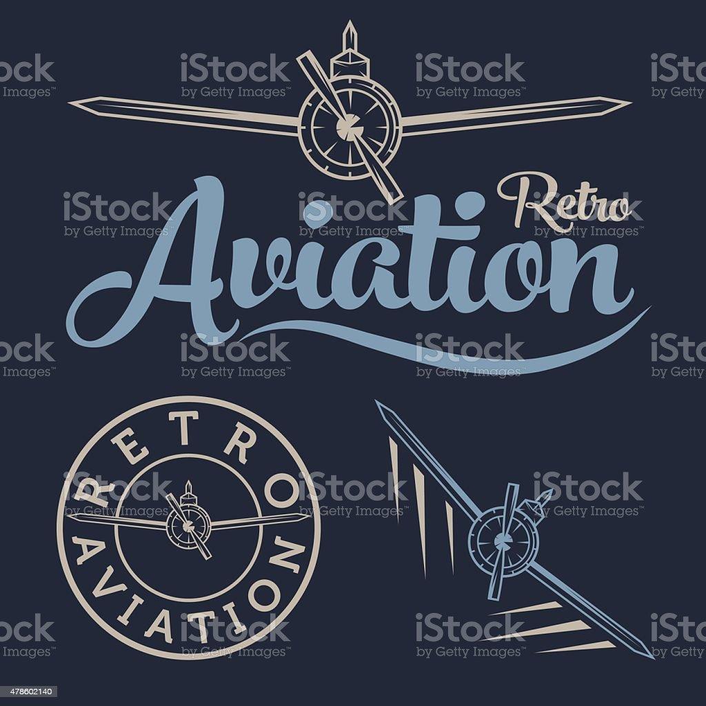 retro aviation label vector art illustration