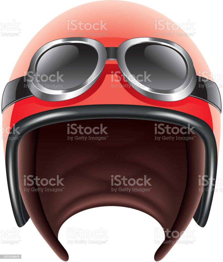 Retro aviator helmet isolated on white vector vector art illustration